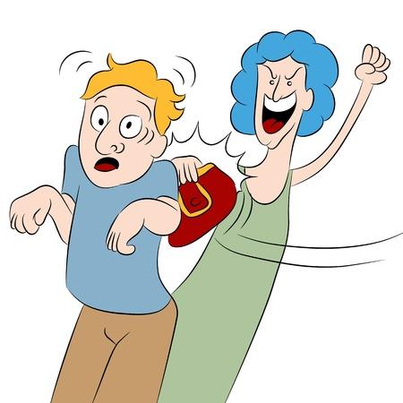 hitting: L'immagine di una donna arrabbiata che colpisce un uomo con la sua borsa.