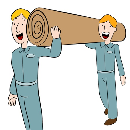 An image of a men carrying a roll of carpet. Vector