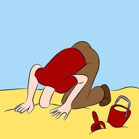denial: An image of a man with his head stuck in the sand.
