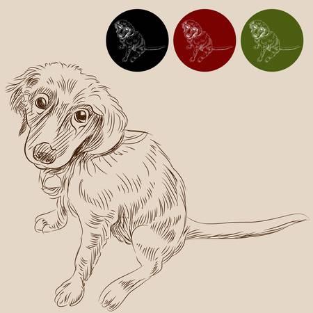 タグ付きのラブラドール子犬のイメージ。  イラスト・ベクター素材