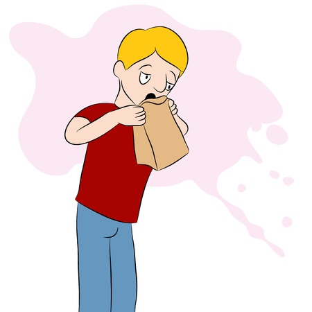 throw up: An image of a man using a barf bag. Illustration