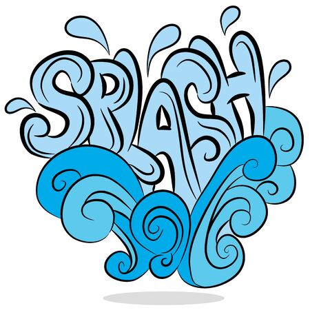 An image of a water splash sound effect text.