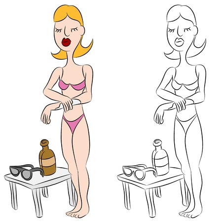 An image of a woman wearing a bikini applying sunscreen lotion to her arm.