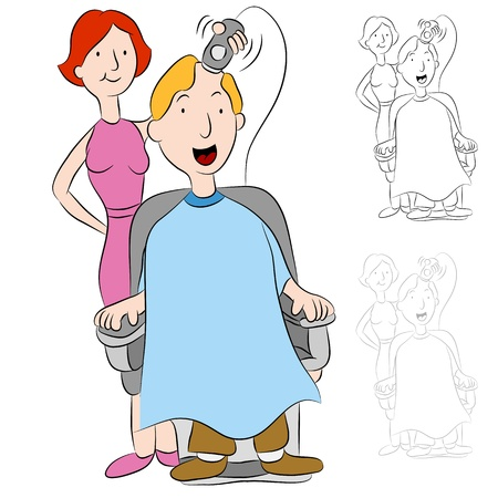 An image of a man having his head shaved by a hairstylist. Stock Vector - 9805385