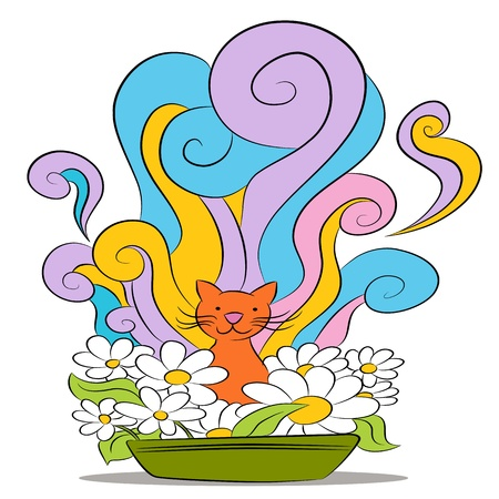 An image of a cat sitting in a clean smelling litter box. Vector
