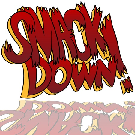 An image of a smack down comic book style sound effect text. Stock Vector - 9805396