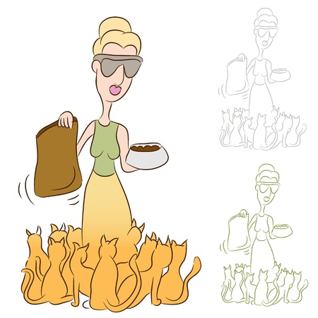 An image of a cat lady feeding food to her pets. Stock Vector - 9805394