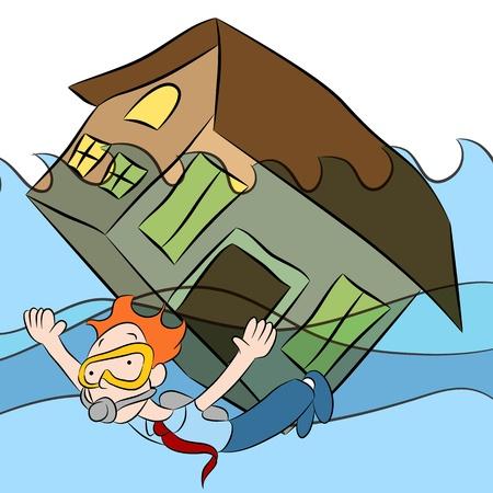 Una imagen de una persona nadando con una casa que se hunde en el agua.