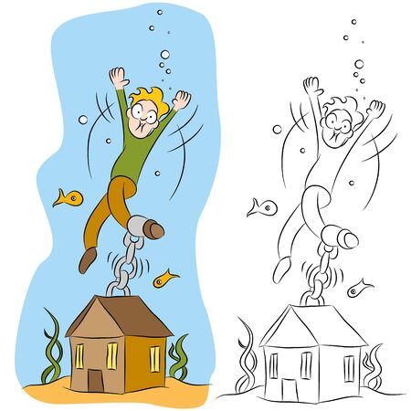 An image of a man chained to his house underwater. Vector