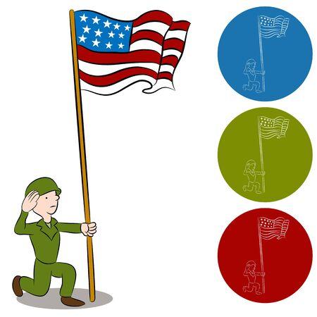 Een afbeelding van een Amerikaanse soldaat die een vlag groet.