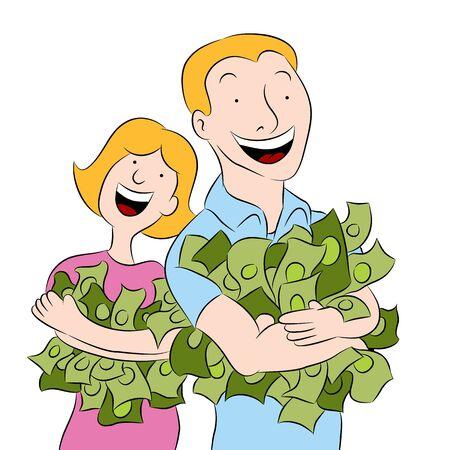 その腕の中でお金を保持している人のイメージ。