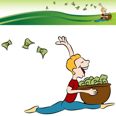 tossing: An image of a man running tossing money from a basket with banner.