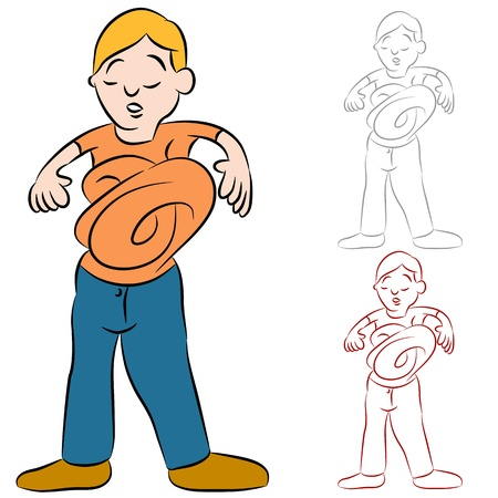 An image of a man with his stomach in knots. Stock Vector - 9921205