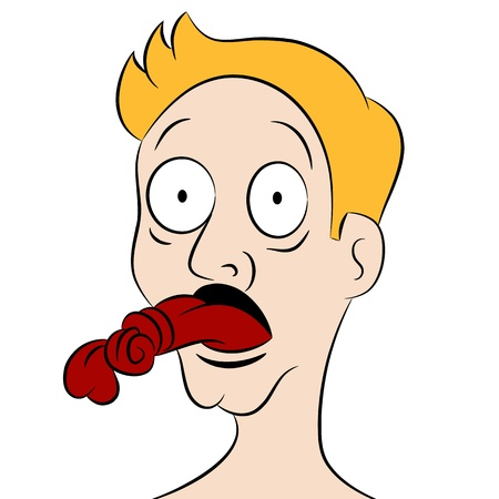 An image of a tongue tied man.