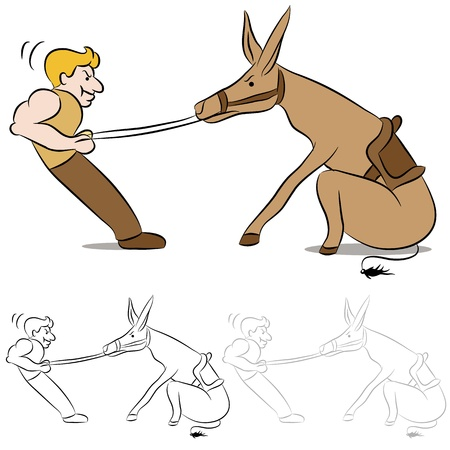 mule: An image of a man pulling on the reins of a stubborn mule. Illustration