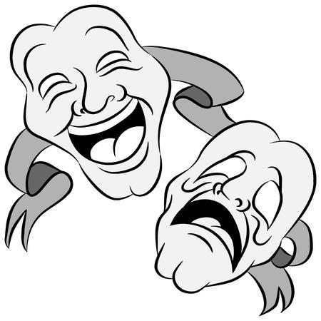Een afbeelding van een reeks drama maskers met gelukkige en droevige uitdrukkingen.