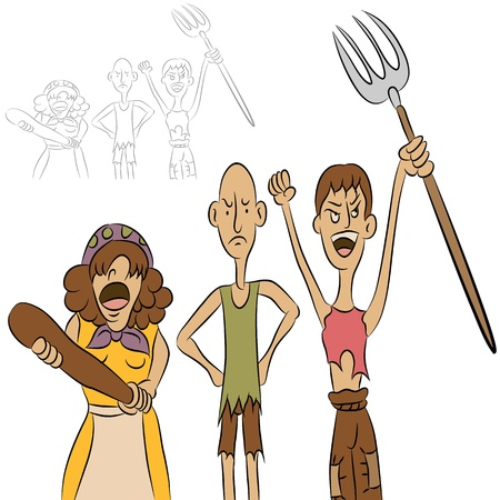 An image of a group of angry people. Vector