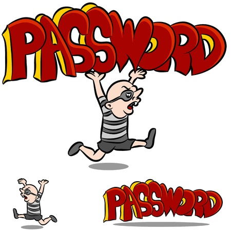 An image of a man stealing a password. Stock Vector - 9921218
