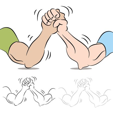 arm: An image of a two people arm wrestling.