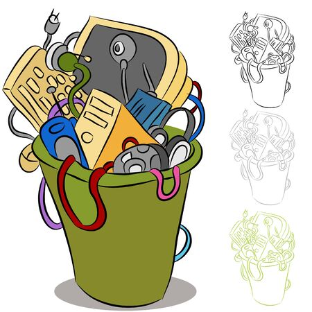 An image of a trash can of obsolete electronic devices. Stock Vector - 9921224