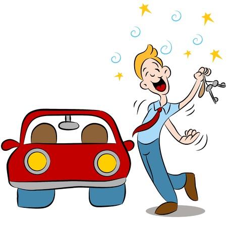 conductor: Una imagen de un conductor borracho a punto de llegar en su autom�vil. Vectores
