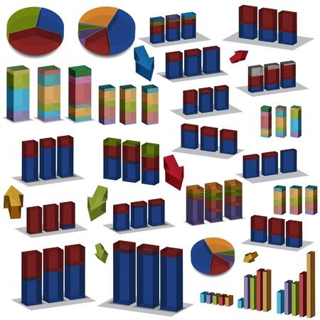 grafica de barras: Una imagen de un conjunto de gr�ficos de barras y pastel 3d.