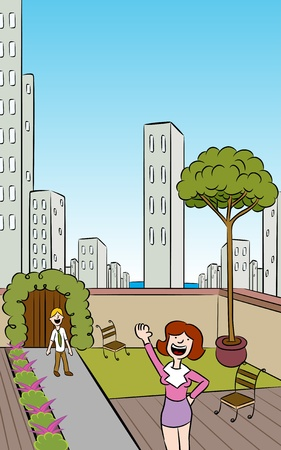 balcony view: People in a garden on the roof of a building in a downtown urban setting. Illustration