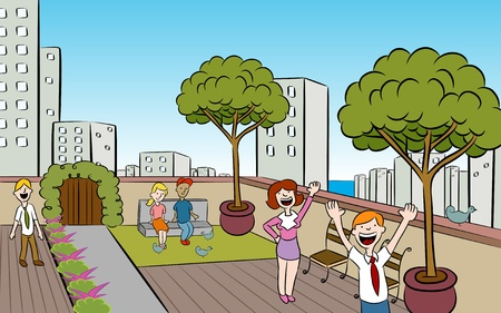 People in a garden on the roof of a building in a downtown urban setting. Ilustracja