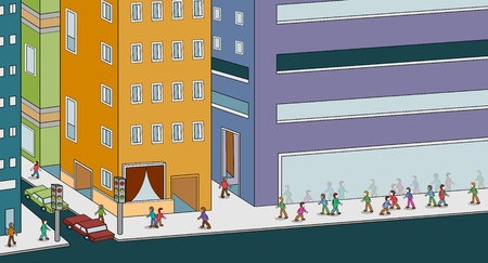 An image of people walking in a busy city. Vector