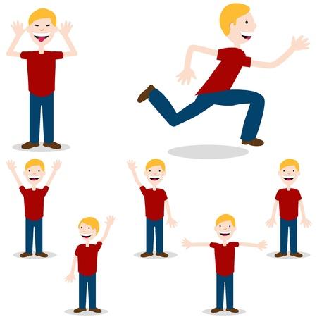 Een afbeelding van een kind in verschillende poses.