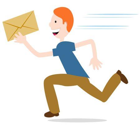 delivering: Una imagen de un hombre que se entrega un envolvente urgente. Vectores