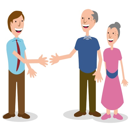 An image of a businessman greeting a senior couple. Vector