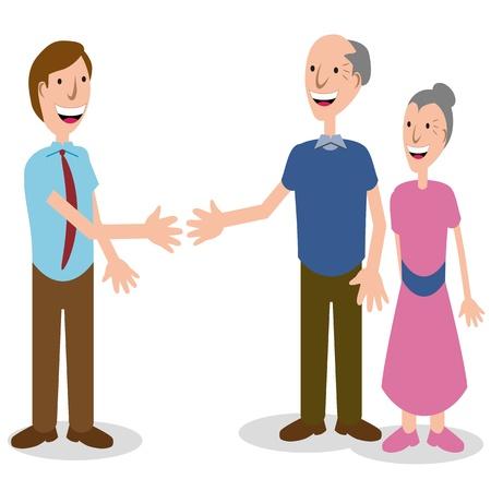 L'immagine di un uomo d'affari salutare una coppia di anziani. Archivio Fotografico - 9946134