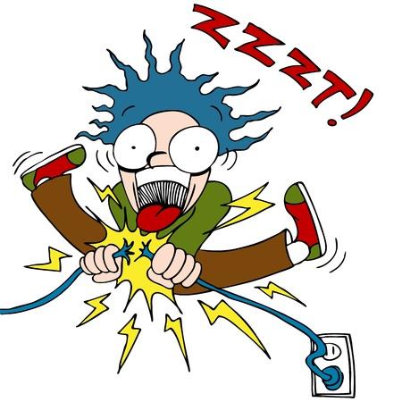 Een afbeelding van een man trying voor positiebepaling een elektrische draad en krijgen geschokt.