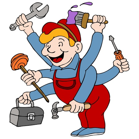 toolbox: An image of a handyman who is a jack of all trades. Illustration
