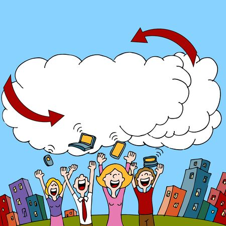 com: An image of a people sharing information via a wireless cloud computing network. Illustration