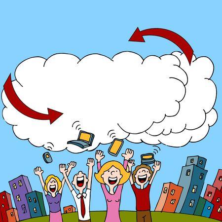 Een beeld van een volk, het delen van informatie via een draadloos cloud computing netwerk.