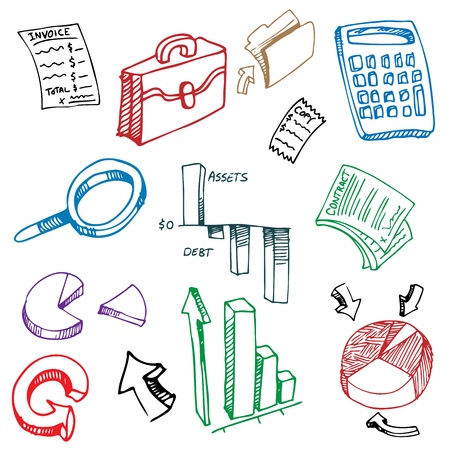 An image of a business financial accounting drawing set. Vector