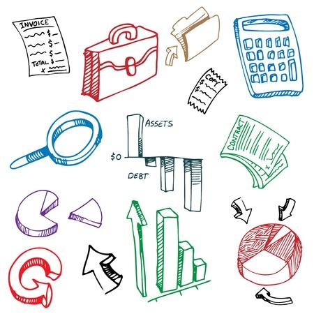 contabilidad: Una imagen de una contabilidad financiera de negocios conjunto de dibujo. Vectores