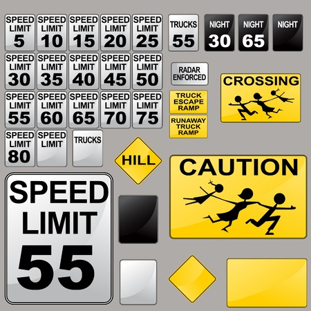 night road: An image of a variety of road signs.