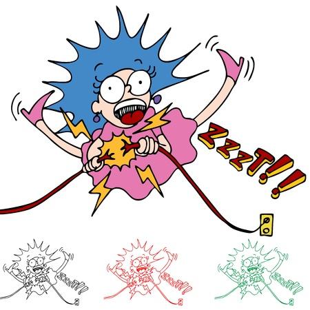 toma corriente: Una imagen de una mujer que se electrocut� mientras que la fijaci�n de los cables.