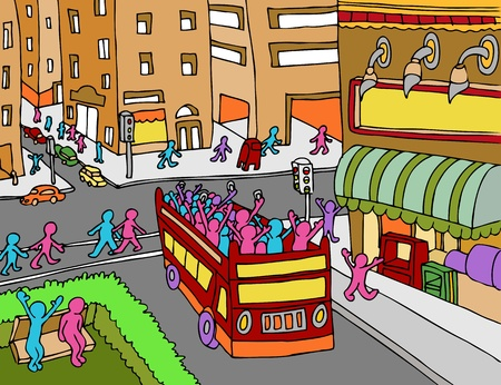 An image of a people riding on a tour bus in the city. Ilustracja