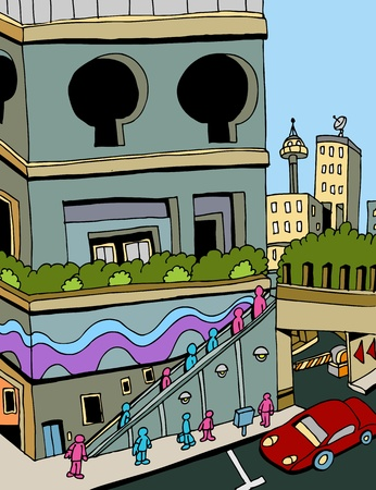 도시에서 에스컬레이터를 타는 사람들의 이미지.