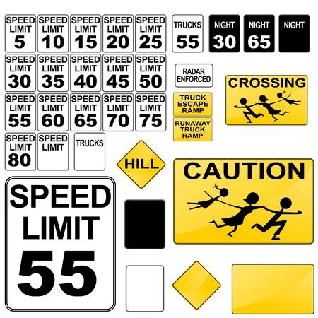 v�locit�: Une image d'une vari�t� de panneaux de signalisation routi�re.