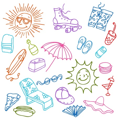 An image of a summer beach items. Vector