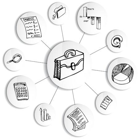 ビジネス財務会計図車輪のイメージ。  イラスト・ベクター素材