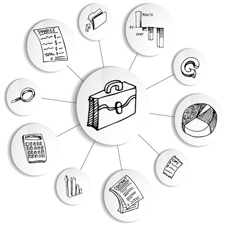 doodle art clipart: An image of a business financial accounting diagram wheel.
