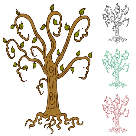 family isolated: An abstract image representing a family tree. Illustration