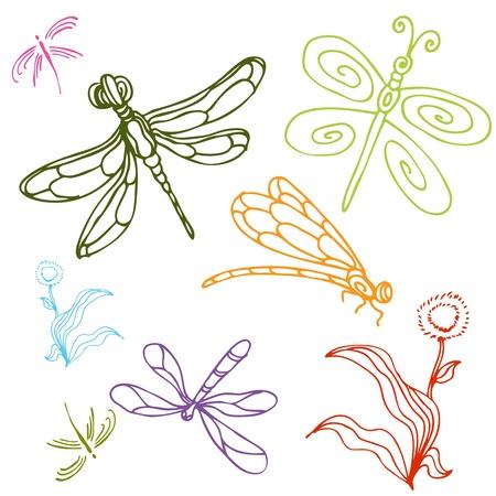 Une image d'un jeu de dessins de libellules. Banque d'images - 10205046