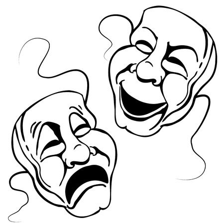 comedy tragedy: An image of a Roman theater mask set. Illustration
